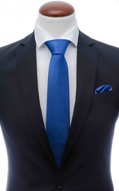 Blue silk tie 8 cm and handkerchief