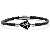 Black Leather Bracelet 0,16'' | Emblem | Silver