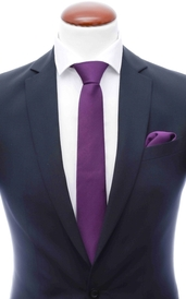 Dark purple skinny silk tie 6 cm and handkerchief