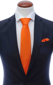 Orange silke tie 8 cm and handkerchief