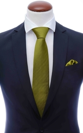 Lime green silk tie 8 cm and handkerchief