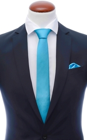 Turquoise skinny silk tie 6 cm and handkerchief