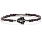 Dark Brown Leather Bracelet 0,16'' | Emblem | Silver