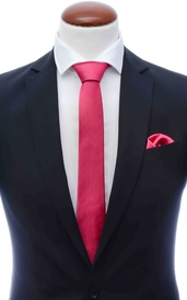 Dark coral skinny silk tie 6 cm and handkerchief