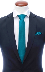 Teal skinny silk tie 6 cm and handkerchief
