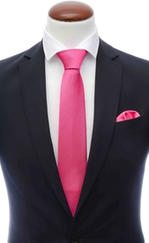 Cerise pink silk tie 8 cm and handkerchief
