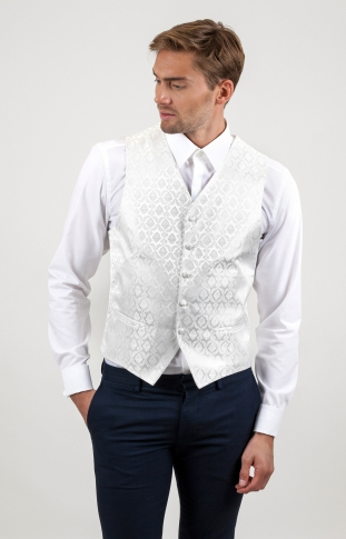 Damask Wedding Waistcoat Off White