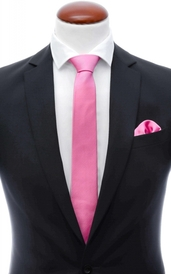 Dark pink skinny silk tie 6 cm and handkerchief