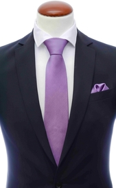 Purple silk tie 8 cm and handkerchief